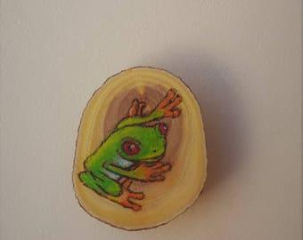 Pyrography - Woodburning - Natural Wood Round - Fridge Magnet - Green Tree Frog