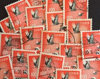 Bird Craft Postage Stamps Lot of 20 Antique Vintage Red and Gray