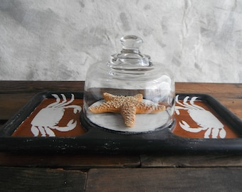 Teak Wood Crab Tray and Cloche