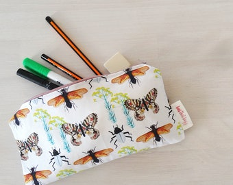 Insect Print Pencil Case - Make-up Pouch - Wallet - Carry Pouch - Back To School **Free European Shipping**