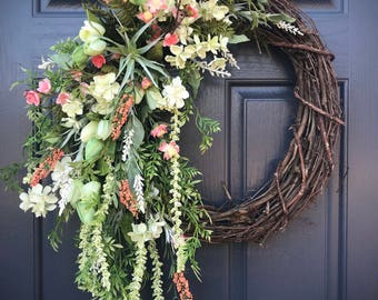 Spring Wreaths, Coral Peach Wreath, Gift for Her, Housewarming, Pretty Wreaths, Spring Door Decor, Spring Wreaths, Coral Colors, Mothers Day