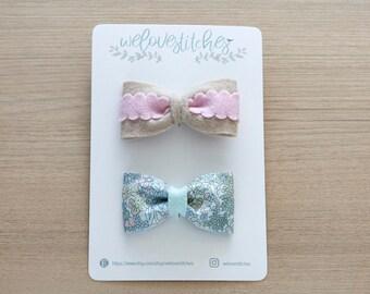 felt hair clip set - girl hair clip - baby hair accessories - hair clips - hair accessories - floral hair clip - bow - ready to ship