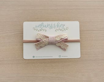 Pink lace bow headbands - newborn headbands - baby bow - baby girl - baby girl headbands - infant headband - baby headband - headbands