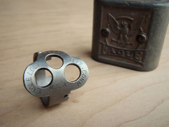 Antique Key made into a RING! - Eagle Three - Size 9 - Jewelry - Vintage - Padlock Key Ring - Powder Coated