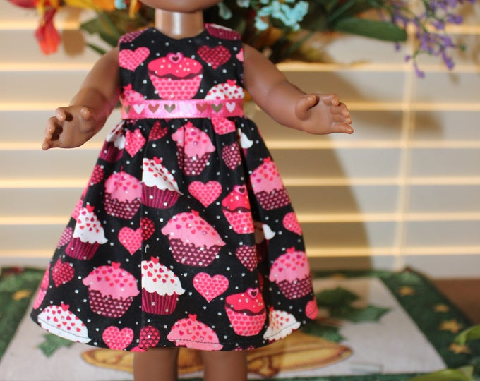 Ready to Party Pink Cupcake Print Dress,Ribbon, Shoes made to fit the likes of Wellie Wisher and other 14.5 inch dolls, FREE SHIPPING