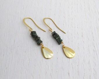 May birthstone earrings, Gold teardrop earrings dangle, Emerald gold earrings