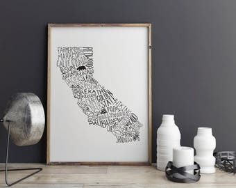 State of California Typography Print; Wall Decor; Christmas Gift; Wall Art; Wedding Anniversary Engagement Graduation Gift Decor