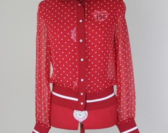 Polka Dotted Little R.E.D. Valentino Riding Hoody || Medium || 1990s || RED Valentino || Designer || Red Silk Hoody