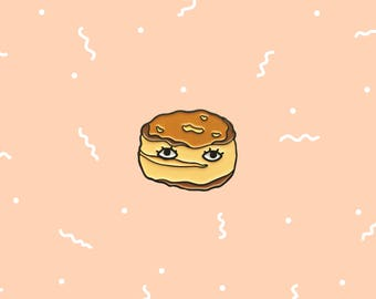 """Biscuit with Eyes 1"""" Enamel Pin"""