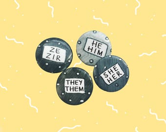 "Pronouns He/Him She/Her They/Them Ze/Zir 1"" Pins (Set of 2) LGBT Trans Non-Binary Gender Polka Dot Pride Buttons"