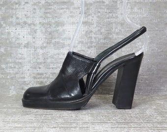 Vtg 90s blk leather cutout chunky clog sandals 37 1/2 EU