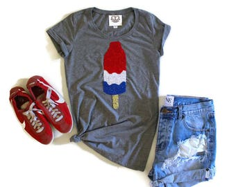 July 4th SEQUIN Bomb Pop T Shirt. 4th of July Shirt. Stars and Stripe. 4th of July Shirt. America Tee. USA Tank Top. Red White Blue. USA Tee