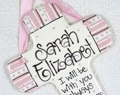 Personalized Baptism Cross in Pink and Gray  'I Will Be With You Always'  Matthew 28:20