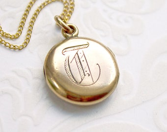 Antique Initial T Locket Necklace, letter T locket, monogram T locket, Victorian locket, gold filled locket, late 1800s locket