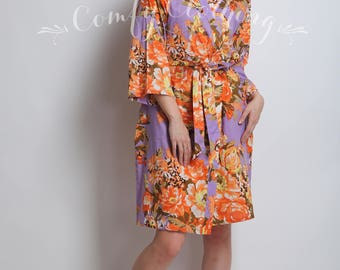 Lav lavender Floral Loungewear Robes, Wedding Party Favors, Dressing Gowns, Maid of Honor Gift, Wedding Photo Prop, Kimono Crossover Robes