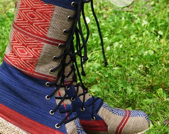 Women's Tribal Vegan Boots, Womens Boots, Tribal Boots, Blue Vegan Boots, Hmong Boots, Hippie Boots, Boho Boots, Blue Boots, Ethnic Boots