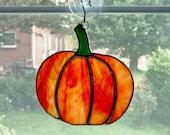 Stained Glass Pumpkin Suncatcher - Autumn Suncatcher - Fall Decor - Autumn Decor - Thanksgiving Decor - Orange Glass - Halloween Decor
