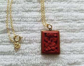 Vermeil Floral Cinnabar Necklace