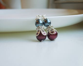Burgundy Red and Dark Grey Pearl and Rhinestone Dangle Earrings Bridesmaids Wedding Jewelry - Sterling Option