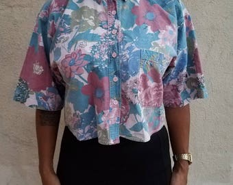 "Vintage Floral Button Up ""Samantha Micelli"" Cropped Midriff Top - 80's / 90's"
