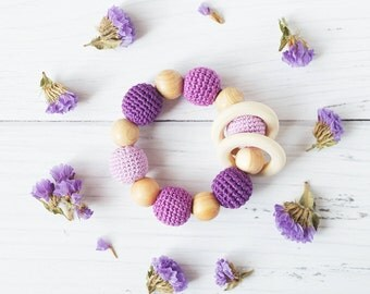 Eco-friendly Organic Crochet Baby Teether - Teething ring - Rattle - Natural Juniper Wooden Beads - First Sensory toy - lilac purple violet