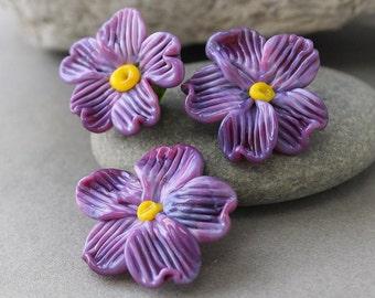 Lampwork Flower Beads, 1 pc Lampwork Glass Bead, Handmade Lampwork, Flower Beads, Glass Flowers