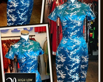Vintage Turquoise Blue Floral Print Silk Cheongsam Dress FREE SHIPPING
