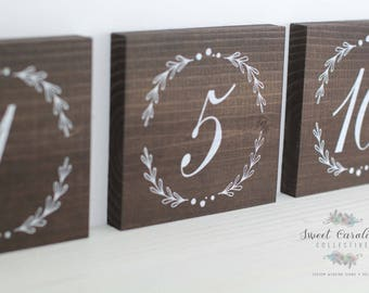 Wooden Table Numbers | Wedding Table Numbers | Table Number Ideas | Laurels | Table Decor | Wooden Laurel Table Numbers - TB-38