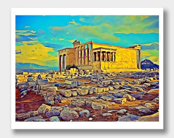 Greece, Acropolis Painting, Greek Art, Digital Paintings, Digital Art, Greek Paintings, Acropolis Art, Greece Paintings, Historical Greece