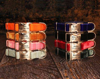 Velvet Dog Collar, Personalized Engraved Metal Buckle, Adjustable for Big or Small Dog, Designer Dog Collar by You Had Me at Woof- 8 Colors