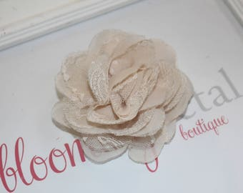 Champagne Lace Chiffon Flower Clip