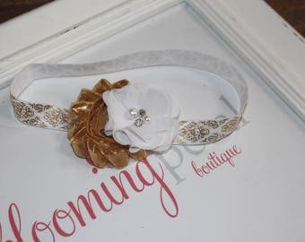 Gold Damask Metallic Shabby Chic Newborn/Infant Flower Headband