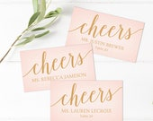 Cheers Printable Wedding Place Cards // Editable Place Cards for Wedding // Blush Pink and Gold Wedding // Wedding Place Card Template