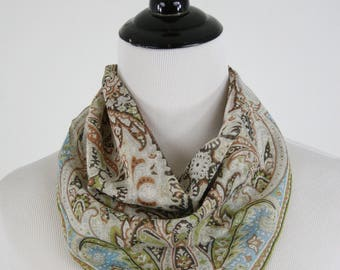 Vintage Intricate Print Small Square Scarf