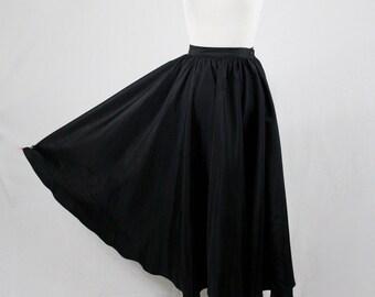 Vintage Black Taffeta Long Full Circle Skirt Formal Evening Skirt