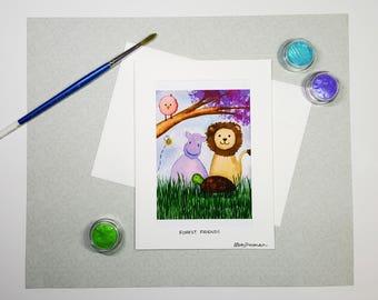 Cute Animal Card, Baby Shower Card, Baby Birthday Card, Kids Birthday Card, Lion Hippo Turtle Owl Greeting Card, Kids Watercolor Art Card