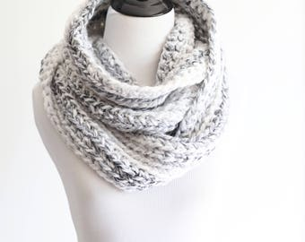 Crochet infinity scarf - The Chicago - in White Marble - Ready to Ship