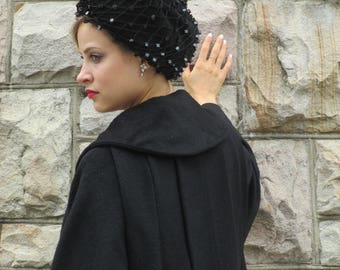 Vintage 1960s Lilli Ann Black Wool Coat  - Seriously great