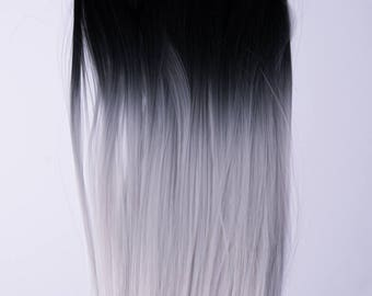 Penny Wigs Ombre Silver/Grey Dip Dyed Straight Clip-In Hair Extensions (7 pieces)