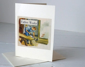 Handmade Vintage Father's Day Card/ Dad's Birthday- Blank
