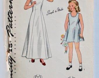 Vintage 1940s Girls Slip Sewing Pattern Size 4 Simplicity 4509