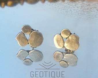Silver Pebble Triad Stud Earrings