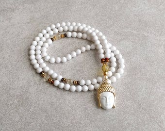 "Buddha Mala Necklace - 6mm White ""Jade"" Dolomite with Citrine and Carnelian - Buddha Jewelry - Meditation Beads - Item #724"