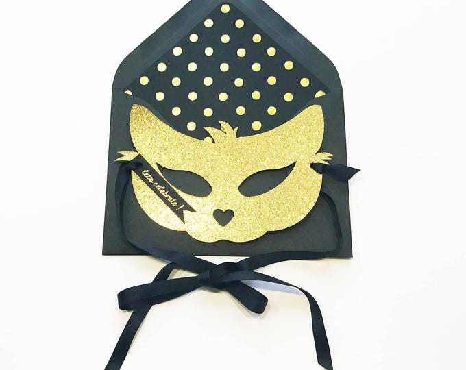 Gold Glitter Cat Mask Card