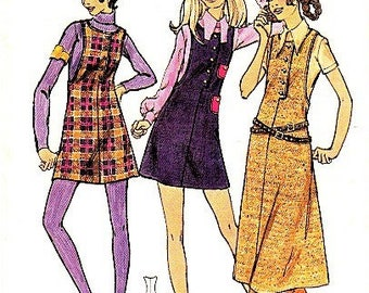 CUTE 1960s MOD Mini Jumper Dress Pattern Butterick 5868 Bust 32 Vintage Sewing Pattern