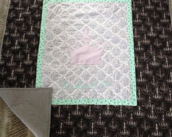 Baby girl nursery bedding item - Lilac Baby Blanket - Homemade Baby quilts for sale - Crib size quilt - Chandelier Baby Bedding Crown