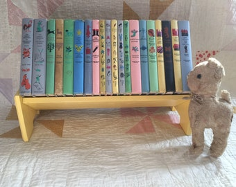 Vintage Child Books Classics nursery Decor photo prop famous children's literature color illustrations yellow wooden book shelf optional