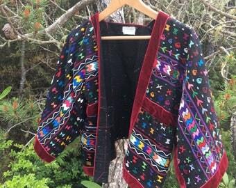 Vintage Ethnic Guatemala Huipil Style Jacket/Coverlet Handwoven L