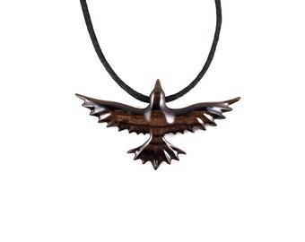 Raven Pendant, Raven Necklace, Crow Pendant Necklace, Wooden Raven Pendant, Soaring Raven Totem Spirit Animal, Raven Jewelry, Wood Jewelry