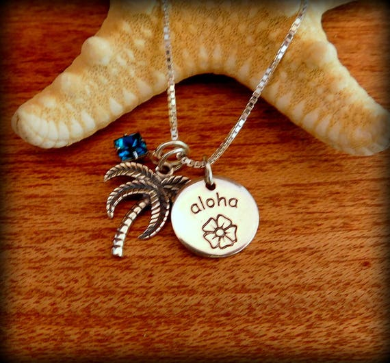 Pretty Aloha and palm tree necklace, surfing culture,  beach theme jewelry, vacation jewelry, solid sterling silver jewelry, swimmers